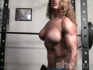 Bare womanlike Bodybuilder Redhead Cougar go-go there Gym