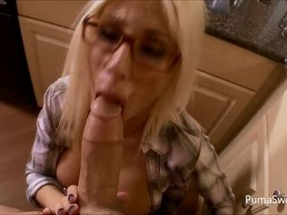 Jism on My Glasses! Puma Swede adores a massive prick & Gets A Massive facial cumshot!