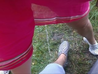 Wifey peeing on hubbies gam outdoor - unexperienced Russian duo