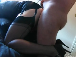 Transvestite hither nylon stockhithergs gets collared leashed coupled with fucked