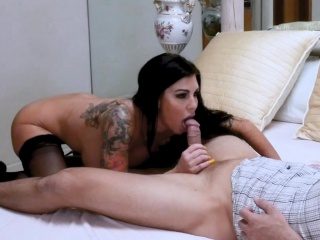 Cougar step-mom in super-steamy underwear got pounded for her b-day
