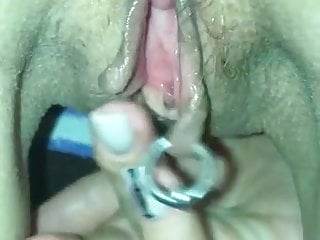 Masturbating perforated cunt