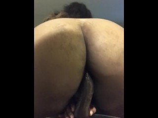 Immense bootie dark-hued raw vag rising faux-cock