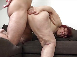 Handsome crimson hair granny's eagerness lovemaking with youthful dude