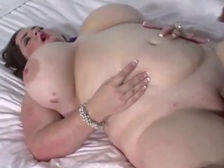 Insane plus-size cougar with monstrous mounds takes a big black cock