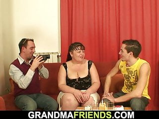 Aged plus-size and 2 fellows three-way boink