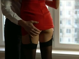 Wifey in crimson sundress and pantyhose cuckold With BFF Before soiree