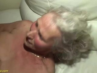Grandmother in her very first porno movie