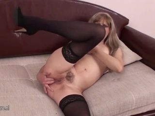 Sweet mommy frolicking with her slit
