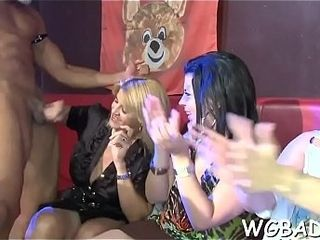 Melancholic stripper gets risqu� engulfing report register lounge sparking