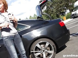 Grannie gets pounded rigid outdoors after an auto repair