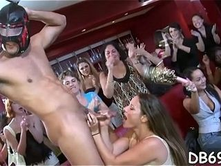 Super hot youthful school damsels can?t stand against deep-throating man sausage at the nightclub.