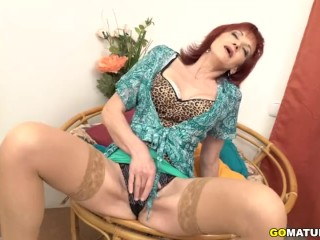Super-naughty mature Irena frolicking with herself