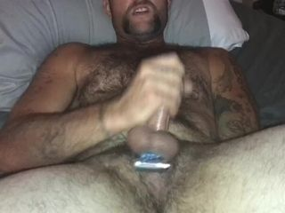Steaming stud masturbates off and finishes off on himself, X2, after wifey opened up his pink pucker