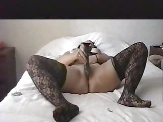 Cheating with a meaty ebony faux-cock