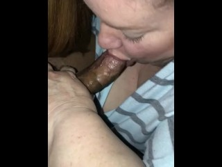 Milky plus-size milf enjoys gargling youthful dark-hued stiffy