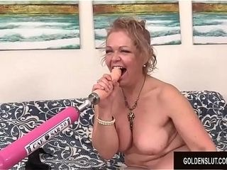 A plumbing Machine Makes mischievous grannie Kelly Leigh ejaculation