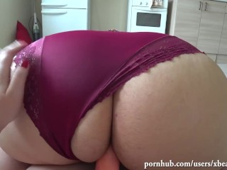 Cougar tears up belt dick, gf with a humungous yummy rump. Point of view