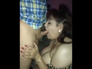 Rae Lynn blowing pink cigar and getting her boobs spunked on