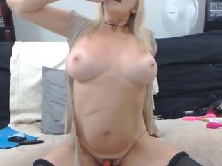 Crazy blond mom plays with meaty mounds and taunting you