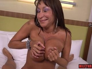 Suntanned GILF pleads For breast banging