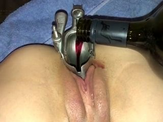 Gulping champagne from my wife's snatch