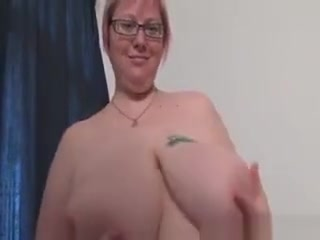 Mature plus-size In Glasses Works Her thick bosoms In sofa